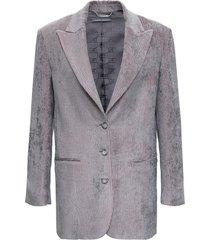 alberta ferretti grey velvet blazer