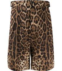 dolce & gabbana leopard print bermuda shorts - brown