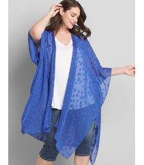 lane bryant women's star-print chiffon kimono duster 22/28 dazzling blue