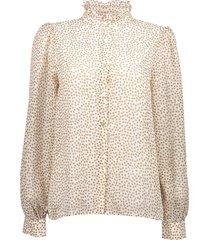 geisha 13070-26 010 blouse small stars & ruffle at neck off-white comb.