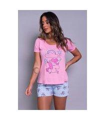 pijama short doll bella fiore modas feminino unicórnio rosa