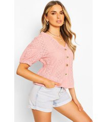 broderie anglaise button through blouse, pink