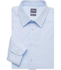 armani collezioni men's modern-fit dress shirt - blue - size 15 38