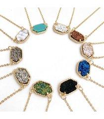 catena di ciondolo turchese collana in oro rosa geometrica druzy pietra dolce per il regalo delle donne