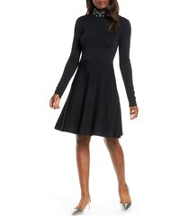 women's eliza j long sleeve fit & flare sweater dress