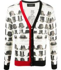 viktor & rolf hat-print v-neck cardigan - white