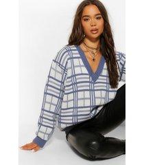 geruite oversized trui met v-hals, blauw