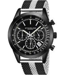 stuhrling original men's quartz chronograph date watch, rose tone alloy case, silver dial, rose and silver tone stainless steel mesh bracelet