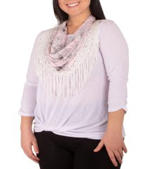 ny collection plus size twist-hem fringed-scarf top