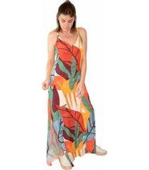 vestido longo viscose estampado craft fendas laterais - feminino