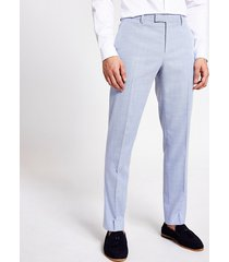 river island mens blue textured slim fit pants