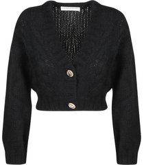 alessandra rich wool mohair cropped cardigan