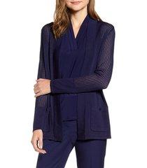 women's anne klein malibu pointelle cardigan, size small - blue