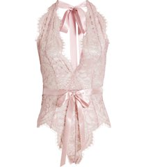 women's oh la la cheri naomi plunge neck lace bodysuit, size large/x-large - pink