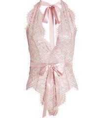 women's oh la la cheri naomi plunge neck lace bodysuit, size small/medium - pink