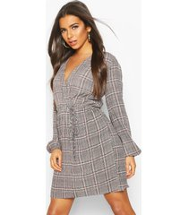 flanneled wrap dress, multi