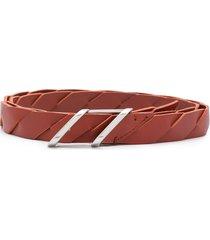 bottega veneta slanted panel waist belt - brown