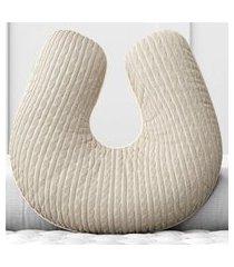 almofada amamentação tricot trança cinza grão de gente bege
