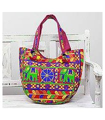 embroidered tote handbag, 'elephant flower in fuchsia' (india)