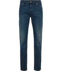 boss men's delaware3 slim-fit green-cast stretch-denim jeans