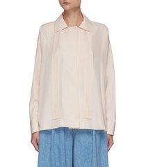 embroidered anagram tie silk pyjama blouse