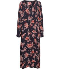 dress floral print plus viscose long sleeves knälång klänning blå zizzi
