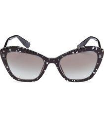 miu miu women's 55mm squared cat eye sunglasses - black