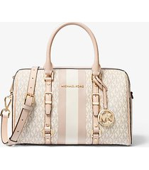 mk borsa a mano bedford travel media con righe e logo - vanilla/soft pink - michael kors