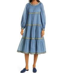 women's tory burch balloon long sleeve trapeze dress, size large - blue