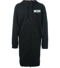 ktz long zipped hoodie - black