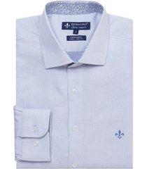 camisa dudalina manga longa fio tinto maquinetada masculina (azul medio, 7)