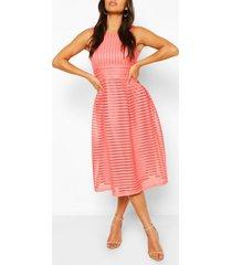 panelled frill skirt skater dress, coral