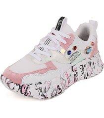 tenis moda dama sneakers blanco*rosado tellenzi 2188
