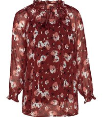 blouse print plus tie detail blus långärmad röd zizzi