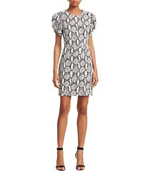 brinley puff-sleeve snake print sheath dress