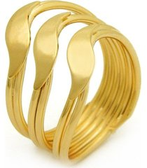 anel horus import três ondas dourado