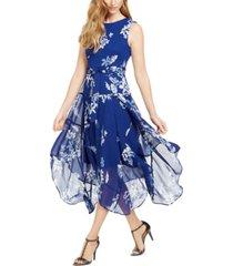 calvin klein floral chiffon handkerchief-hem dress