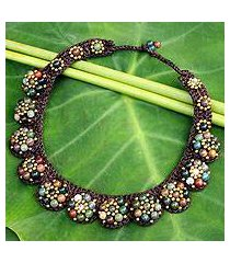 agate beaded necklace, 'daisy melody' (thailand)