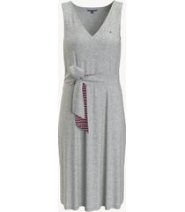 tommy hilfiger women's essential tie-front solid dress light grey heather - xl