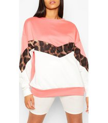 tall luipaardprint colour block sweater, koraal
