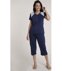pijama feminino com botões e renda manga curta azul marinho