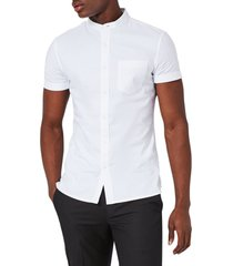 men's topman muscle fit stand collar oxford shirt, size x-small - white