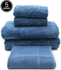 jogo de banho 5 pã§s buddemeyer gigante collona azul 100x150 - azul - dafiti