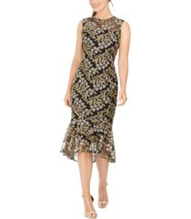 calvin klein embroidered midi dress