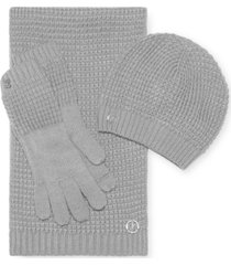 calvin klein 3-pc. waffle hat, scarf & gloves gift set