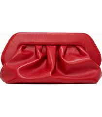 themoire' clutch in pelle rossa