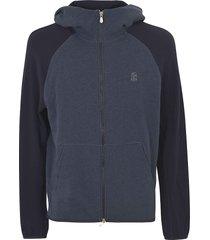 brunello cucinelli color-block zipped hoodie