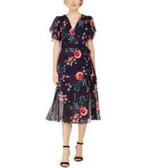 vince camuto floral-print faux-wrap midi dress