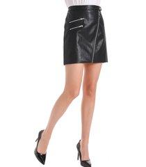 falda ecocuero cierres negro nicopoly