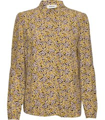 ella print shirt blus långärmad gul modström